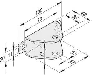 Torflügelbeschlag U-Form, Edelstahl